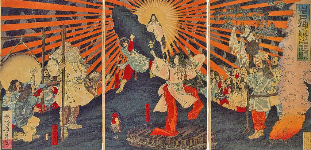 Amaterasu vom Klang der Taiko aus ihrer Höhle gelockt